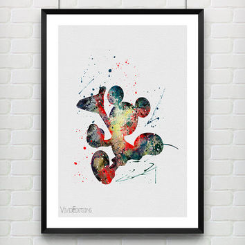 Mickey Mouse Watercolor Poster Print, Disney Baby Boy / Girl Nursery Room Art, Kids Decor Home Decor, Not Framed, Buy 2 Get 1 Free! [No 131]
