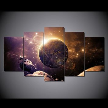 Universe Planet Canvas Panel Wall Art Print Wall Decor - 5 Panel Framed Unframed