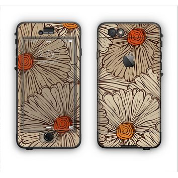 The Tan & Orange Tipped Flowers Pattern Apple iPhone 6 Plus LifeProof Nuud Case Skin Set