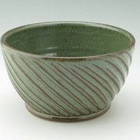 Cyber Weekend SALE Handmade Pottery Mixing Bowl - Textured Stoneware 5-6 Cup Sturdy Kitchen Bowl, Sage Green Decorative Serving Bowl Ready t