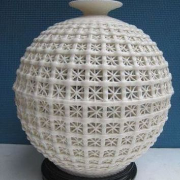 9.45 inch /China decorative handmade porcelain carving hollow out a large vase