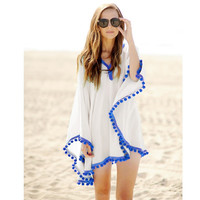 2015 New Fashion Summer Women Pom Pom Trim Chiffon Kaftan Beach Dress Swimwear Bikini Cover-up Kimono Beach Tunic Wear 41150
