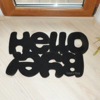 Hello / Bye. Design door mat. Custom rug. Floor mat in black for your entry.
