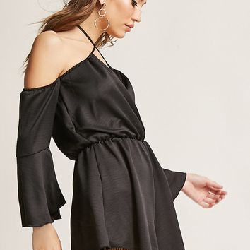 Satin Open-Shoulder Romper