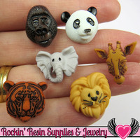 Jesse James Buttons 12 pc ANIMAL WORLD Buttons / Turn them Into Flatback Cabochons