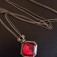 Ladies Long Fashion Necklace Red Womens Pendant