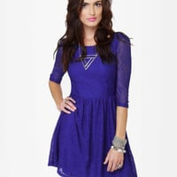 Adorable Blue Dress - Royal Blue Dress - Lace Dress - $40.00