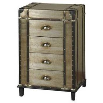 4 Drawer Steamer Trunk Chest with Leather and Brass Trim - Silver - Stylecraft