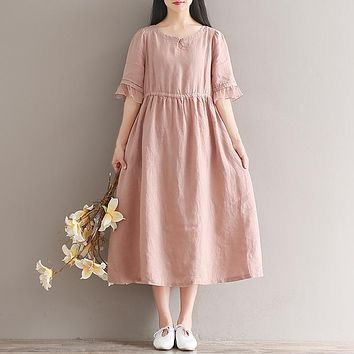 original design loose robe 2017 new summer women short-sleeved vintage retro cotton and linen dress ladies casual midi vestidos