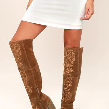 Sbicca Acapella Tan Embroidered Over the Knee Boots