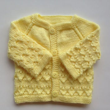 Ready to Ship. Hand Knitted Baby newborn girl Cardigan - Sweater Newborn Reborn  0-3 Months Old Yellow  Color Soft Acrylic