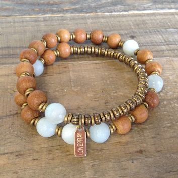 "Sandalwood and Amazonite ""Fifth Chakra"" 27 Beads Wrap Mala Bracelet"