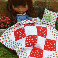Blythe Doll, Red Polka Dot Quilt, Fashion Doll Blanket Throw Pillow, Scale Miniature, Barbie Linens Home Décor Accessories for Takara Pullip