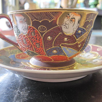 Occupied Japan Kutani Moriage Cup and Saucer 1939-1944