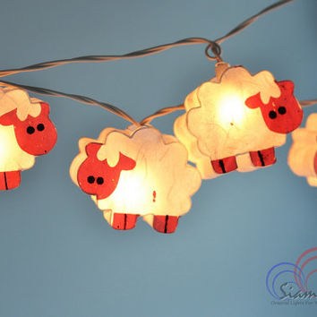 So Cute Night Lights White Sheep Hanging Lights for Bedroom Decoration 20 Lights/Set