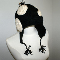 Black and white Dot Knit Cap with Ear Flaps