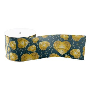 Golden Hearts Pattern Grosgrain Ribbon