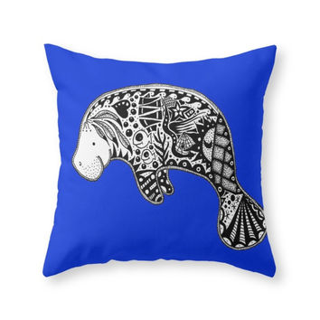 Society6 Manatee Throw Pillow
