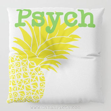 Psych Floor Pillow Square TV Show Shawn Gus Decorative Television Fan Cover Pop Culture Humor Funny Art Pineapple Cushion Yellow Lime Green