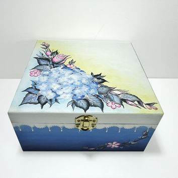 100 % Hand Painted Personalized Wedding Card Holder / Wish Box / Home Decoration / Jewelry Box / Trinket Sewing Box by Elena Joliefleur