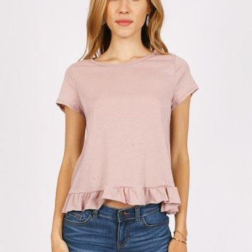 Perch Ruffle Hem Top In Dusty Pink