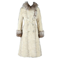 Vintage 1960's Platinum Mink and Fox Princess Coat