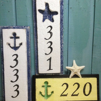 House Number Sign Beach Lake House Decor - 3 Numbers