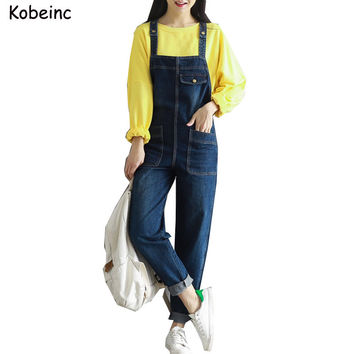 Vintage Boyfriend Denim Jumpsuits for Women with Large Pockets Jeans Salopette 2017 Plus Size Female Overalls New Loose Bodysuit
