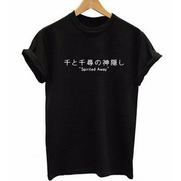 Pkorli Japanese Letters Print SPirited Away T Shirt Women Tshirt Cotton Short Sleeve Harajuku T Shirt Summer Tops S-XXXL