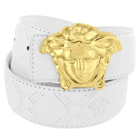 "Medusa Face Buckle White Leather Belt 46"" Greek Myth"