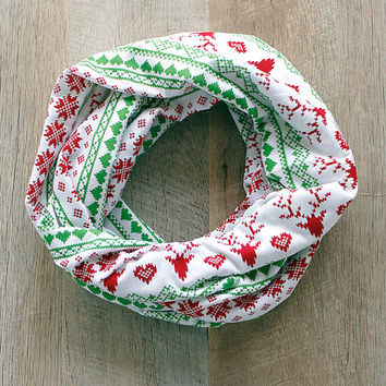 Reindeer Ugly Sweater Infinity Scarf Red and Green