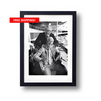 Vintage Black and White Harry Caray Jack Buck Photo Chicago Cubs St Louis Cardinals Baseball Collectible Man Cave Print Gift