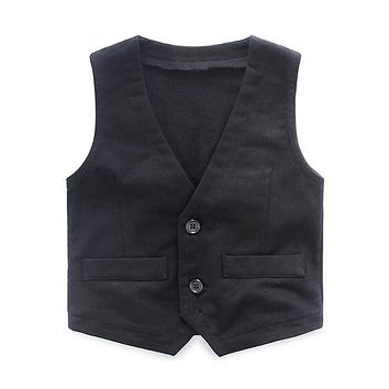 Mudkingdom Autumn Boy Vest Kids Clothes Spring V-neck Buttoned Outerwear Coats Solid Waistcoat Formal Children Clothing