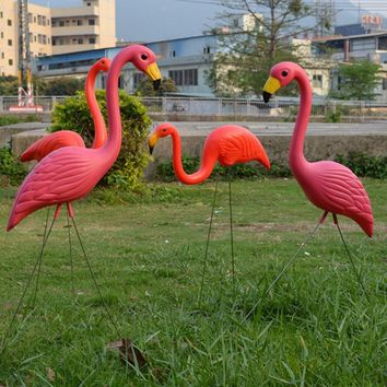 2Pcs Red Flamingo Home Garden Lawn Decoration Ornaments