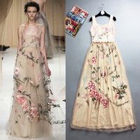 High Quality Embroidered Gauze Embroidery Elegant Temperament Heavy Beach Getaway Dress Catwalk Runway 2015 New Dresses
