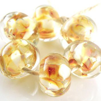 Liquid Sunshine Encased Lampwork Rounds Set of 6 Beads