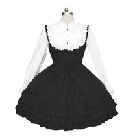 TOMSUIT Black and White Long Sleeve Ruffle Tiered Lolita Dress