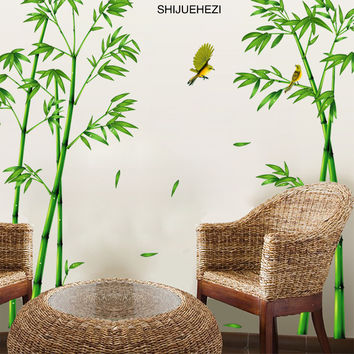 [SHIJUEHEZI] Green Bamboo Forest Wall Stickers Vinyl Material Decorative Mural Art for Living Room Cabinet Decoration Home Decor