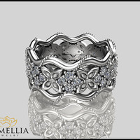 14K White Gold Diamond Ring, Butterfly Ring,Diamond Eternity Ring,Unique Ring,Camellia Jewelry,Birdal Jewelry,Nature inspired Ring.
