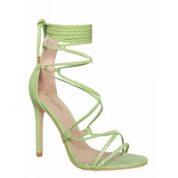 Demi Green Snake Lace Up Stiletto Heels : Simmi Shoes