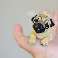 Needle felted pug. Little felt dog. Sweet animal. Funny toy. Birthday gift.