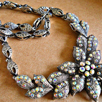 Rhinestone Bib Necklace-Earrings, Aurora Borealis Flower, Vintage Silvertone Ornate