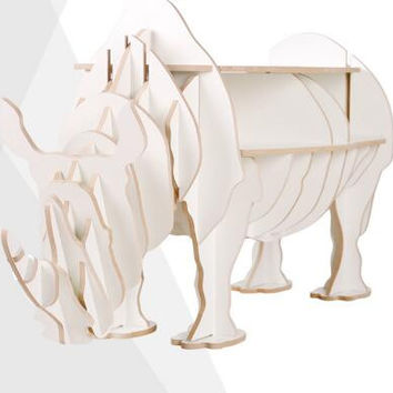 Rhino Animal Shaped Wooden Bookcase Shelve DIY Home Decorative Coffee Desk