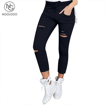 NGOLODO Hole Hollow Women Leggings black 95% cotton elastic belt pencil sexy pants  for girl Female trousers jeggings