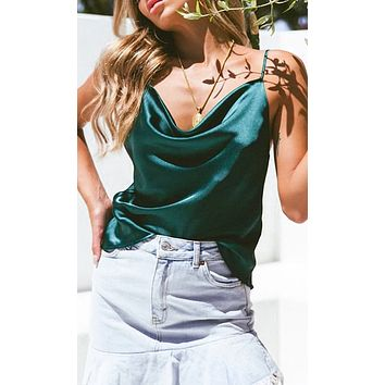 Summer Nights Dark Teal Satin Sleeveless Spaghetti Strap Draped V Neck Camisole Basic Tank Top Blouse