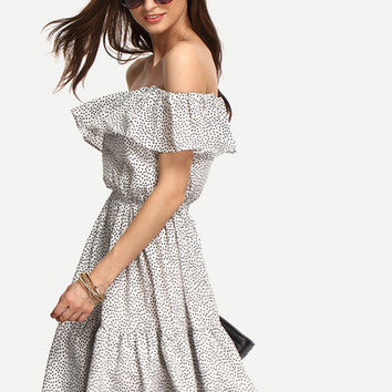 Polka Dot Summer Black and White Multicolor Off The Shoulder Trendy Lightweight Dress