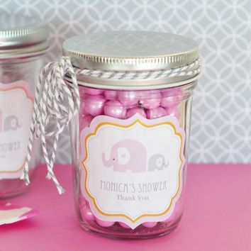Pink Elephant Personalized Mini Mason Jars