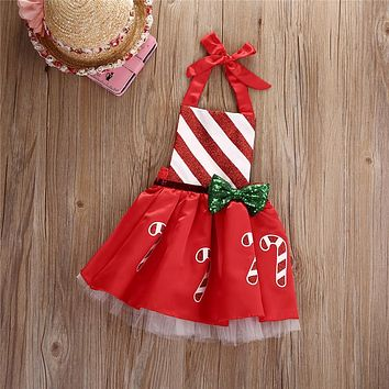 Toddler Christmas clothes Baby Girl Bow Striped Candy Cane Dress Kids Outfits Costume