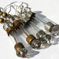 Antique Fuse Steampunk Earrings. Eco Friendly. Glass Tubes. Silver ONLY. You Blow Blow Your Fuse When You've Fallen in Love. tagt team