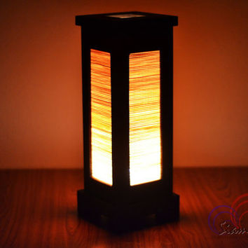 Thai Vintage MDFL Natural Bamboo Blind Home Lighting Furniture Bedroom Decorate Wooden Lamp Handmade